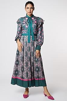 Dark Grey & Pink Printed Dress by SIDDHARTHA BANSAL-POPULAR PRODUCTS AT STORE