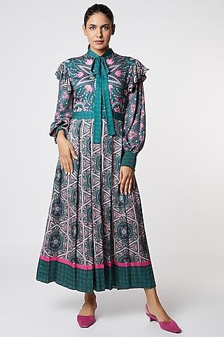 Dark Grey & Pink Printed Dress by SIDDHARTHA BANSAL