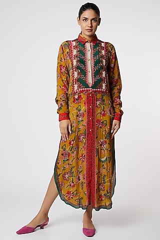 Yellow Embroidered & Printed Shirt Dress by SIDDHARTHA BANSAL