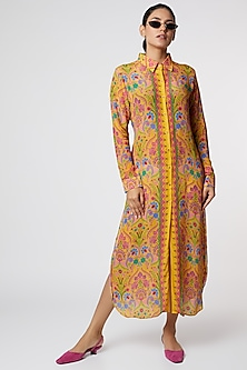 Yellow Floral Printed Shirt Dress by SIDDHARTHA BANSAL-POPULAR PRODUCTS AT STORE