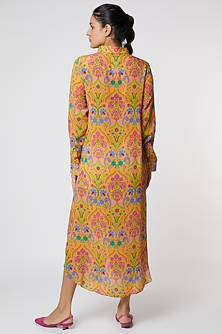 Yellow Floral Printed Shirt Dress by SIDDHARTHA BANSAL