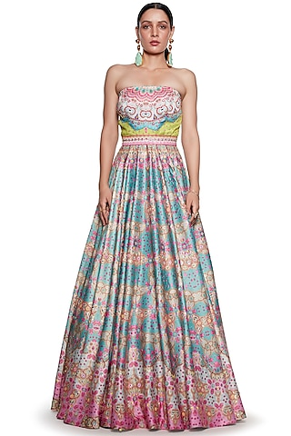 Pink & Blue Embroidered Gown by SIDDHARTHA BANSAL