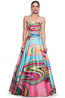 Multi Colored Embroidered Gown by SIDDHARTHA BANSAL-SIDDHARTHA BANSAL