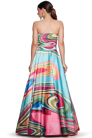 Multi Colored Embroidered Gown by SIDDHARTHA BANSAL