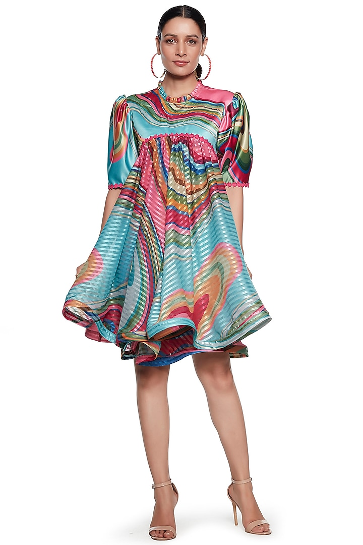 Multi Colored Wave Embroidered Dress by SIDDHARTHA BANSAL