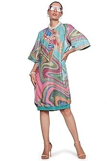 Multi Colored Wave Dress by SIDDHARTHA BANSAL-SIDDHARTHA BANSAL