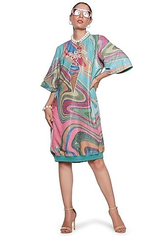Multi Colored Wave Dress by SIDDHARTHA BANSAL