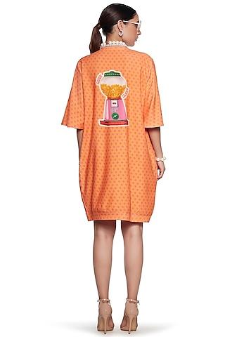 Orange terry Cotton Sweatshirt by SIDDHARTHA BANSAL