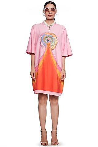 Orange & Pink Terry Cotton Sweatshirt by SIDDHARTHA BANSAL