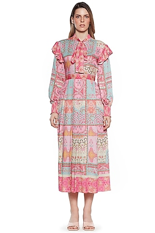 Pink & Blue Pleated Dress by SIDDHARTHA BANSAL