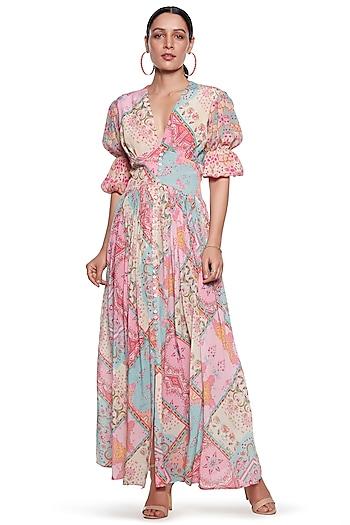 Pink & Blue Pure Crepe Dress by SIDDHARTHA BANSAL