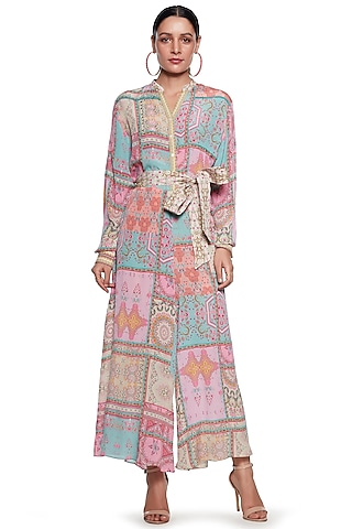 Pink & Blue Embroidered Jumpsuit by SIDDHARTHA BANSAL