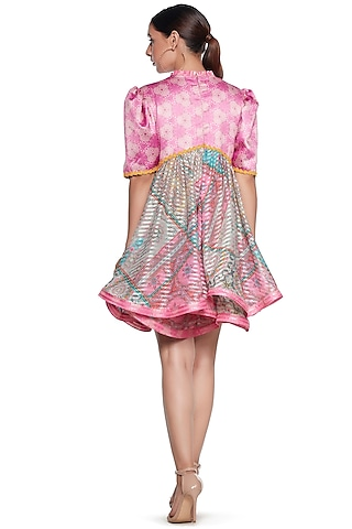 Pink & Blue Embroidered Dress by SIDDHARTHA BANSAL