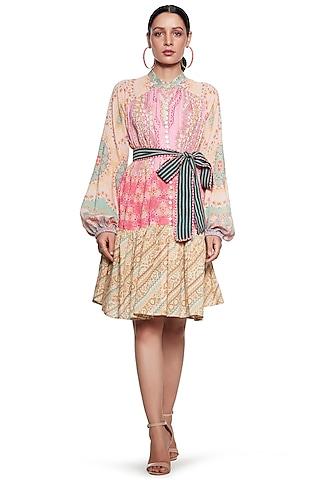 Pink & Yellow Cotton Linen Dress by SIDDHARTHA BANSAL