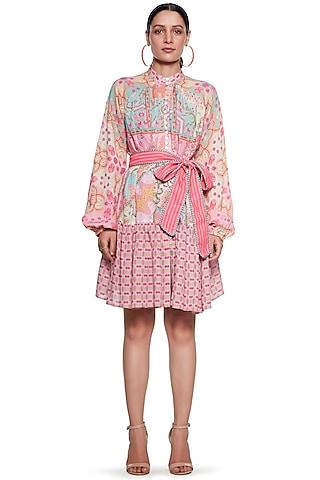 Multi Colored Knee Length Dress by SIDDHARTHA BANSAL