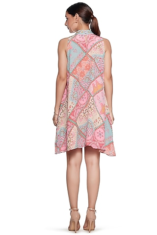 Multi Colored Halter Neck Dress by SIDDHARTHA BANSAL