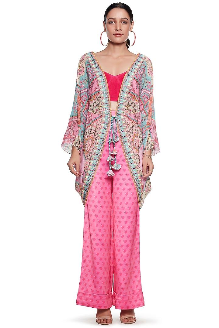 Pink Embroidered Shrug by SIDDHARTHA BANSAL