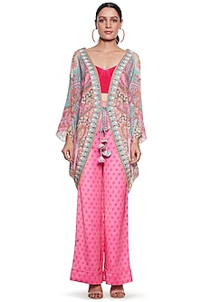 Pink Embroidered Shrug by SIDDHARTHA BANSAL