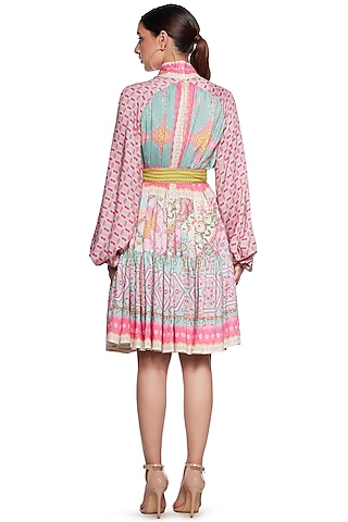 Pink & Blue Knee Length Dress by SIDDHARTHA BANSAL