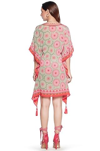 Pink & Green Crepe Kaftan by SIDDHARTHA BANSAL