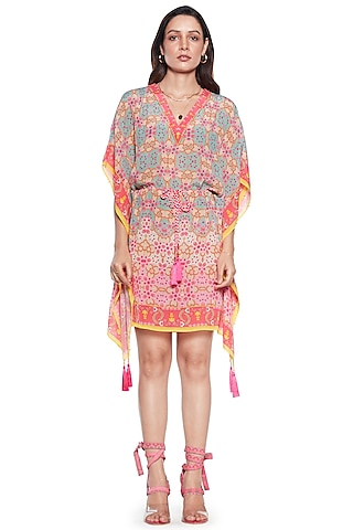 Multi Colored Pure Crepe Kaftan by SIDDHARTHA BANSAL