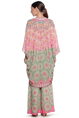 Pink & Green Crepe Shrug by SIDDHARTHA BANSAL