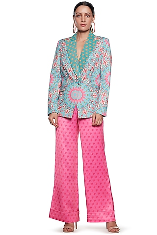 Sky Blue & Pink Printed Blazer Set by SIDDHARTHA BANSAL
