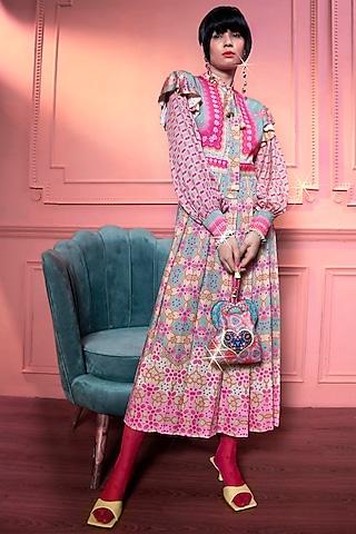 Mint & Pink Pleated Dress by SIDDHARTHA BANSAL
