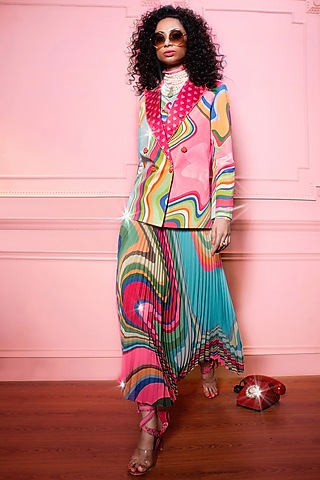 Multi Colored Georgette Wave Skirt by SIDDHARTHA BANSAL