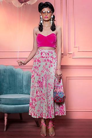 Mint & Pink Pleated Skirt by SIDDHARTHA BANSAL