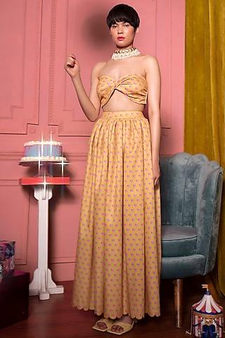 Mustard & Pink Heart Skirt Set by SIDDHARTHA BANSAL