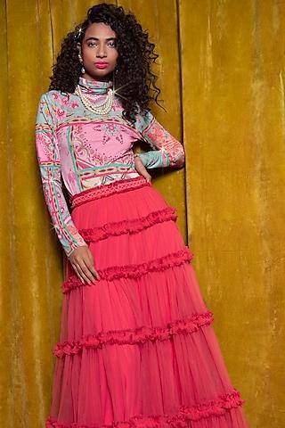 Pink & Sky Blue Top by SIDDHARTHA BANSAL