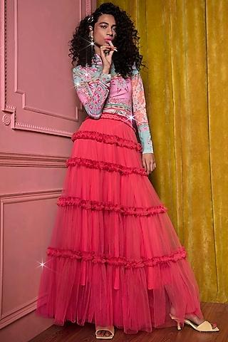 Red Gathered Skirt by SIDDHARTHA BANSAL