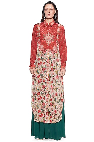 Maroon Embroidered Shirt Dress by SIDDHARTHA BANSAL