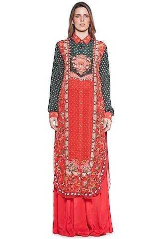 Green & Red Embroidered Shirt Dress by SIDDHARTHA BANSAL
