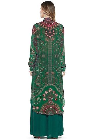 Emerald Printed Shirt Dress by SIDDHARTHA BANSAL
