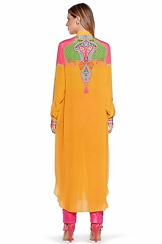Yellow & Blue Shirt Dress by SIDDHARTHA BANSAL