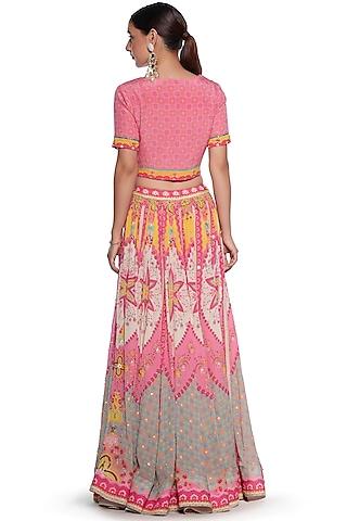 Pink & Yellow Embroidered Lehenga Set by SIDDHARTHA BANSAL