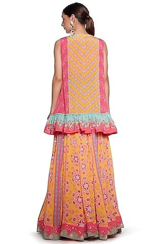 Yellow & Pink Embroidered Lehenga Set by SIDDHARTHA BANSAL