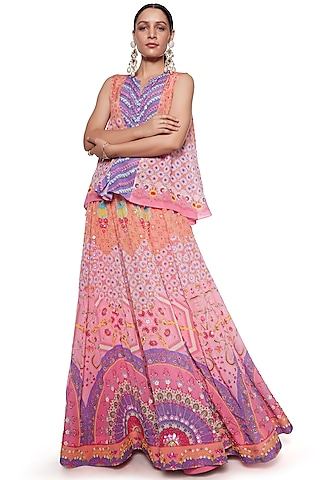 Pink & Purple Skirt Set by SIDDHARTHA BANSAL
