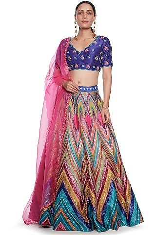 Multi Colored Lehenga Set With Embroidery by SIDDHARTHA BANSAL