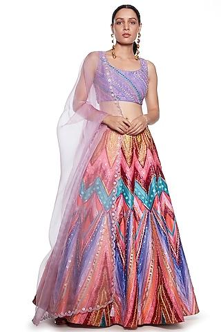 Lilac Embroidered Lehenga Set by SIDDHARTHA BANSAL