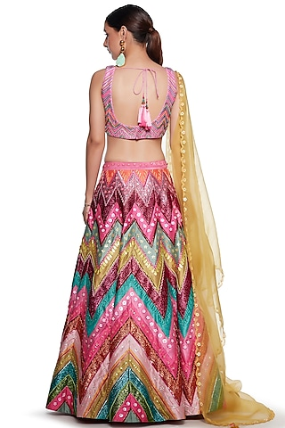 Multi Colored Raw Silk Embroidered Lehenga Set by SIDDHARTHA BANSAL