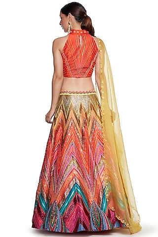 Multi Colored Embroidered Lehenga Set In Raw Silk by SIDDHARTHA BANSAL