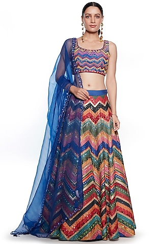 Multi Colored Dupion Embroidered Lehenga Set by SIDDHARTHA BANSAL
