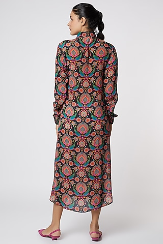 Grey & Blue Paisley Printed Shirt Dress by SIDDHARTHA BANSAL