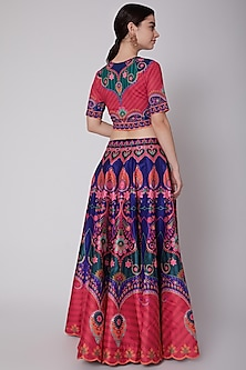 Royal Blue & Pink Printed Lehenga Set by SIDDHARTHA BANSAL
