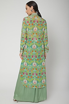 Mint Green Digital Printed Tunic With Pants by SIDDHARTHA BANSAL