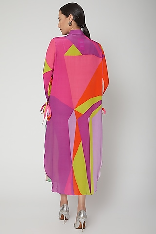 Multi Colored Digital Printed Shirt Dress by SIDDHARTHA BANSAL