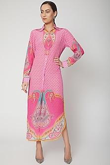 Blush Pink Digital Printed Shirt Dress by SIDDHARTHA BANSAL